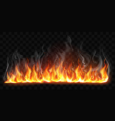 realistic burning fire flames with smoke vector image