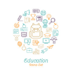 round line education concept for back to school vector image