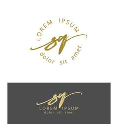 s q handdrawn brush monogram calligraphy logo vector image