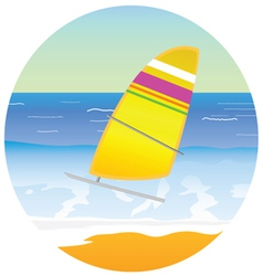 Sailboat on the paradise beach vector