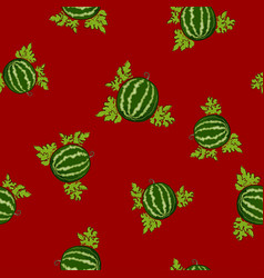seamless pattern watermelon on red background vector image