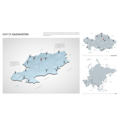 Set kazakhstan country isometric 3d map vector