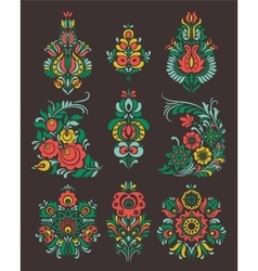 set of flowers and floral composition in vector image