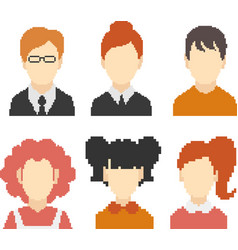 set of pixel faces vector image