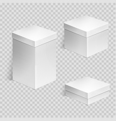 Set of realistic cardboard boxes over transparent vector