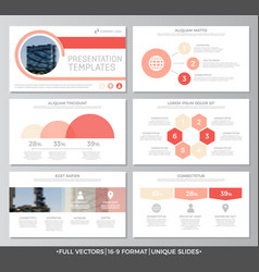 Set of red elements for multipurpose presentation vector