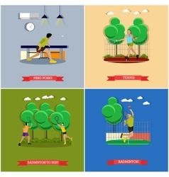 Set of tennis ping pong and badminton vector