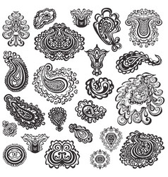 set paisley elements vector image