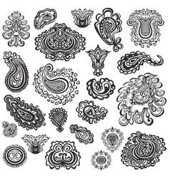 set paisley elements vector image
