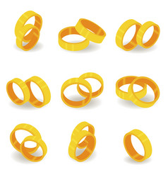 Set with gold rings in realistic style 3d vector