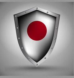 shield with the japanese flag vector image vector image