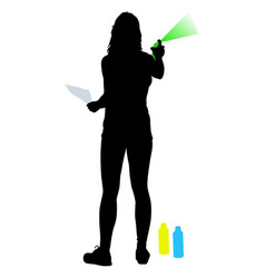 Silhouette woman holding a spray on a white vector