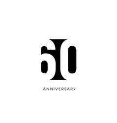 Sixty anniversary minimalistic logo sixtieth vector