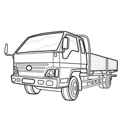 sketch a truck coloring book isolated object vector image