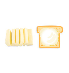 Slices of butter or margarine isolated vector