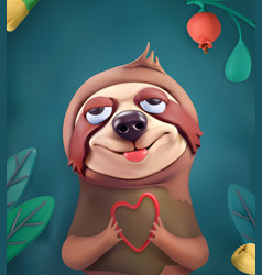 Sloth cartoon character cute animals 3d vector