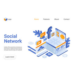 social network landing page template vector image