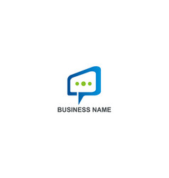 square talk bubble chat business logo vector image