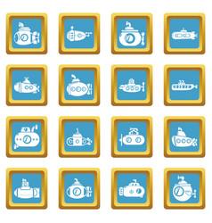 submarine icons set sapphirine square vector image