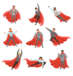 Superhero business men in different poses cartoon vector