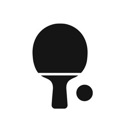 tabble tennis racket black simple icon vector image