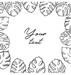 template with monstera leaf vector image