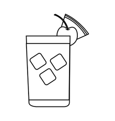 Tropical cocktail glass isolated icon vector