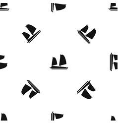 Vietnamese junk boat pattern seamless black vector