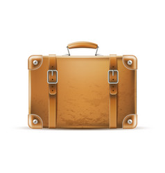 vintage travel bag leather brown suitcase vector image