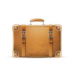 vintage travel bag leather brown suitcase vector image