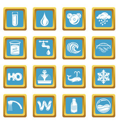 Water icons set sapphirine square vector