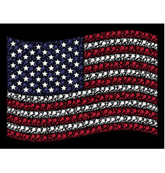 Waving american flag stylized composition of vector