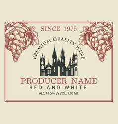 wine label with old european town and grapes vector image