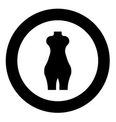 Woman figure icon black color in circle vector