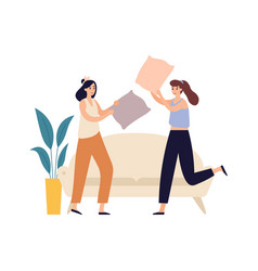 women friends young girls pillow fighting female vector image