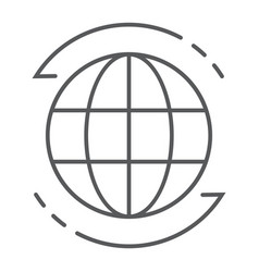 Worldwide thin line icon globe and world planet vector