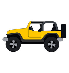 yellow jeep on white background vector image