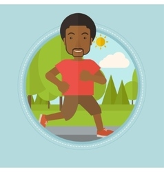 Young man running in the park vector