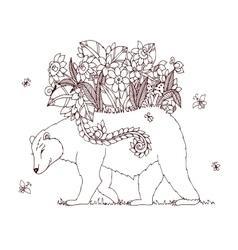 Zen Tangle bear with flowers vector