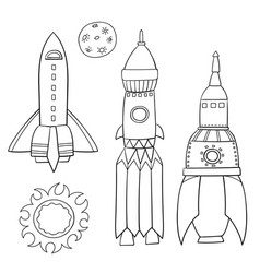 card with space objects rockets the moon and the vector image