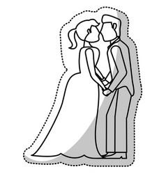 couple wedding romantic outline vector image vector image