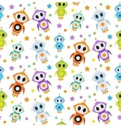 Cute kids seamless pattern robot rocket Children vector image