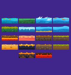 Landscape elements sett ground collection vector