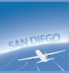 san diego skyline flight destination vector image vector image