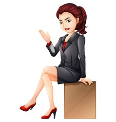 A woman sitting down vector image vector image