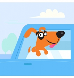 brown dog travelling in car vector image