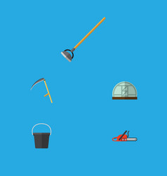 Flat icon farm set of tool hothouse cutter and vector