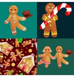 set christmas cookies gingerbread man and girl vector image