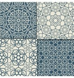 Blue arabic pattern set vector image
