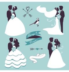 Elegant wedding couples in silhouette vector image